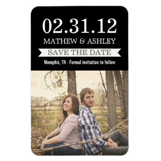Stylish Banner Black Save The Date  Magnet