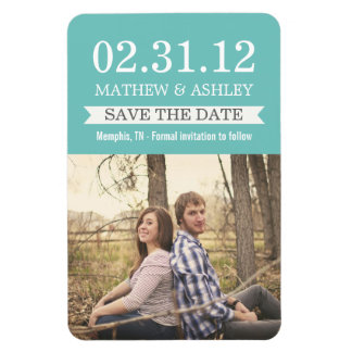 Stylish Banner Blue Save The Date  Magnet
