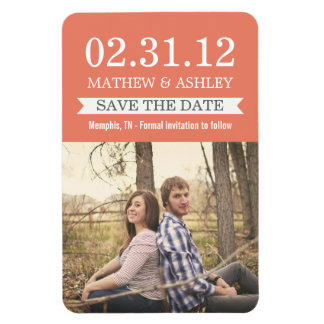 Stylish Banner Coral Save The Date  Magnet