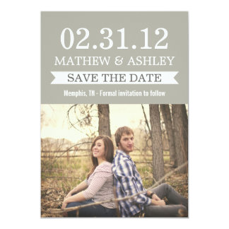 Stylish Banner Gravel Gray Save The Date Invites