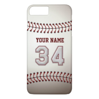 Stylish Baseball Number 34 Custom Name - Unique iPhone 8 Plus/7 Plus Case