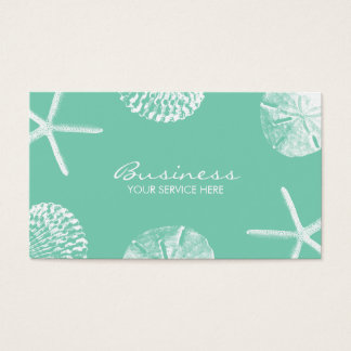 Stylish Beach Theme Seashells Mint Green Business Card