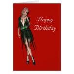 Stylish beautiful sensual woman greeting card
