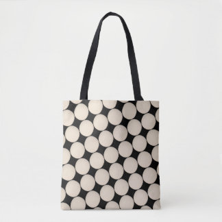 Stylish Beige White Polka Dot Tote Bag