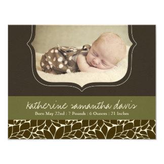 "Stylish Birth Announcement Photo Card 4.25"" X 5.5"" Invitation Card"