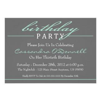Stylish Birthday Party Invitations Green