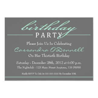Stylish Birthday Party Invitations (Green) invitations