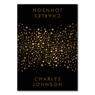 Stylish Black and Gold Confetti Dots | Place Cards