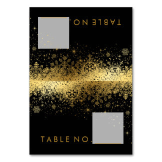 Stylish Black and Gold Snowflakes - Tent Cards