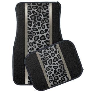 Stylish Black and Gray Leopard Animal Pattern Car Mat