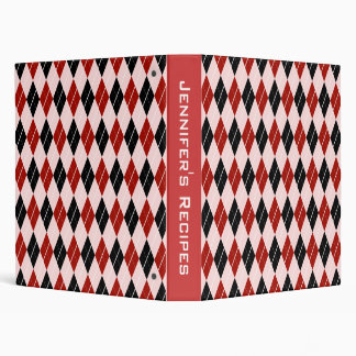 Stylish Black and Red Argyle Plaid Pattern 3 Ring Binder