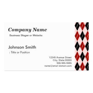 Stylish Black and Red Argyle Plaid Pattern Business Card