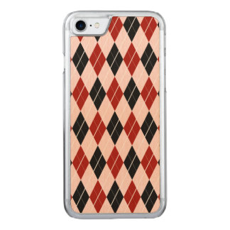 Stylish Black and Red Argyle Plaid Pattern Carved iPhone 7 Case