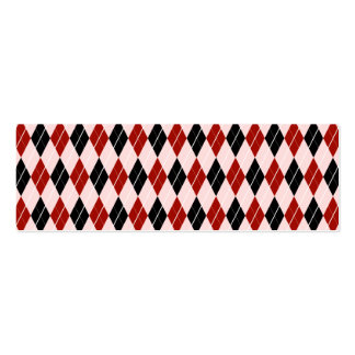 Stylish Black and Red Argyle Plaid Pattern Mini Business Card