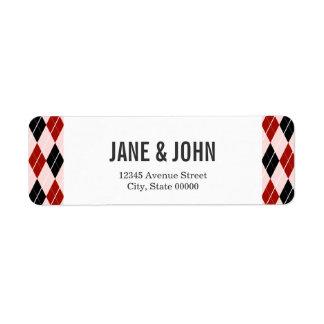 Stylish Black and Red Argyle Plaid Pattern Return Address Label