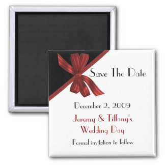 Stylish Black and Red Save the Date Magnet
