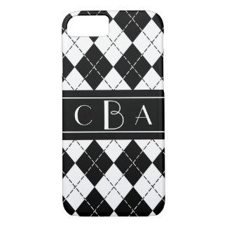 Stylish Black and White Argyle Monogrammed iPhone 7 Case