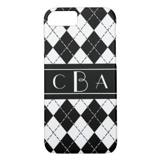 Stylish Black and White Argyle Monogrammed iPhone 8/7 Case