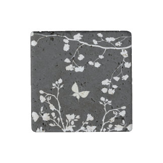 Stylish Black and White Butterfly in the Wild Stone Magnets