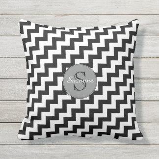 stylish black and white chevron stripes throw pillow