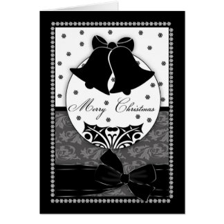 Stylish Black And White Christmas Card With Bells