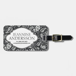 Stylish Black and White Country Paisley Luggage Tag