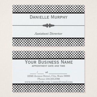 Stylish Black and White Geometric Diamond Business Card