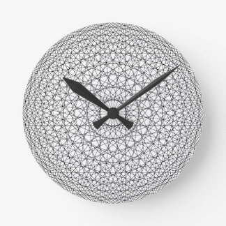 STYLISH BLACK AND WHITE GEOMETRIC MANDALA ROUND CLOCK