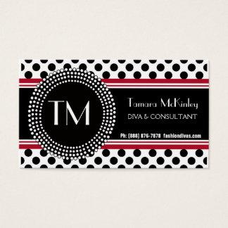 Stylish Black and White Modern PolkaDots Business Card