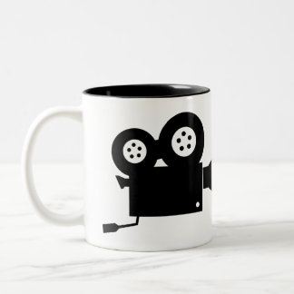 STYLISH BLACK AND WHITE MOVIE CAMERA Two-Tone COFFEE MUG