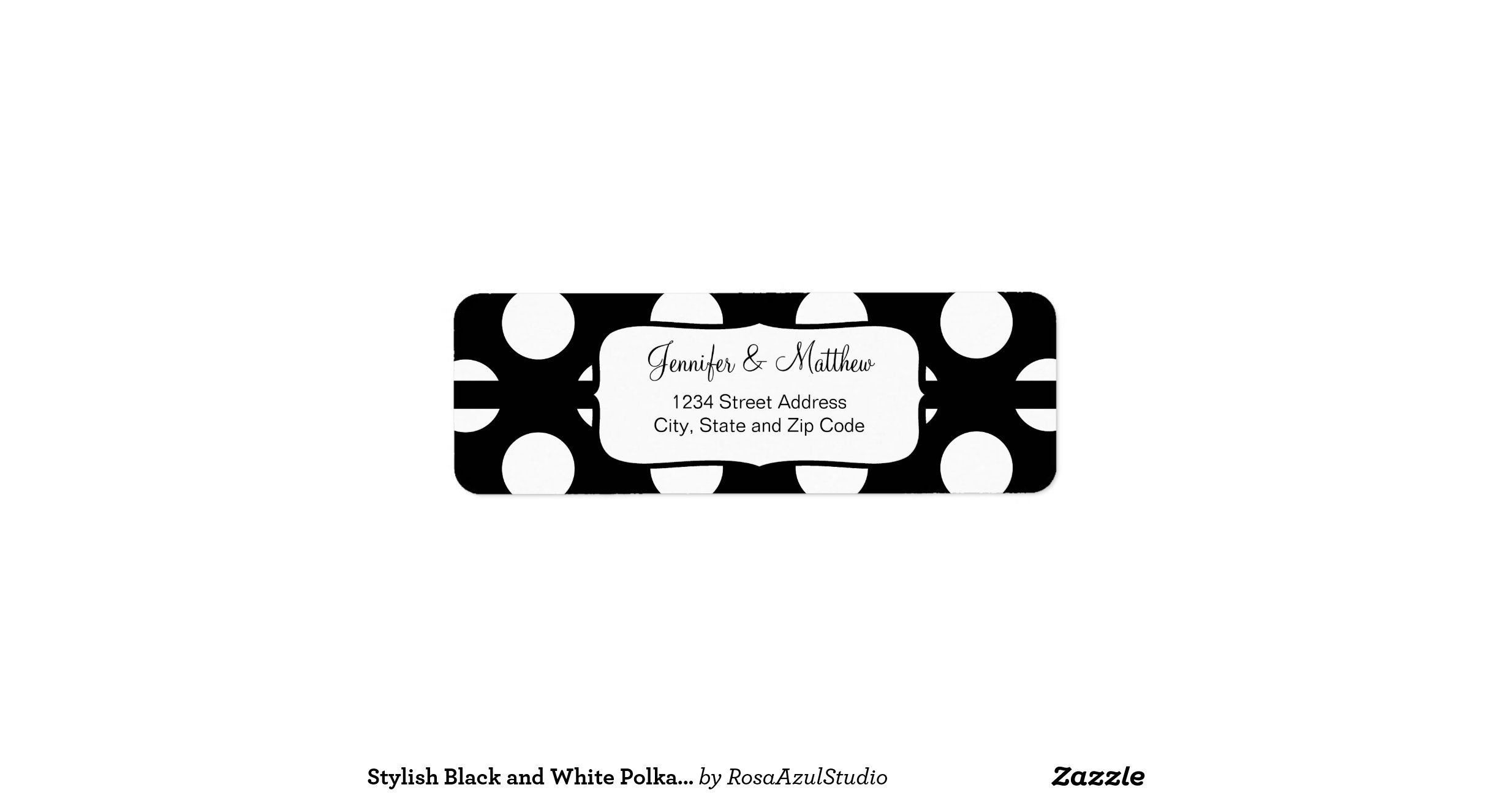 avery 6870 template - stylish black and white polka dots pattern return address