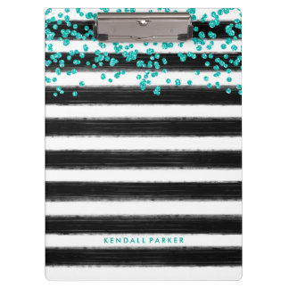 Stylish Black and White Stripes with Teal Confetti Clipboard