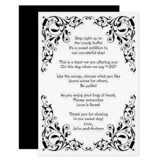 Stylish Black and White Swirls Candy Buffet Cards
