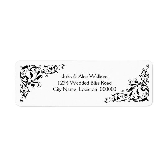 Stylish Black and White Swirls Customizable Labels