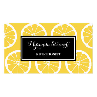 Stylish Black and Yellow Lemon Slices Nutritionist Business Card