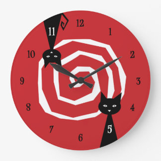Stylish Black Cat Large Clock