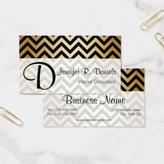 Stylish Black Faux Gold Chevron Zigzag Pattern Business Card