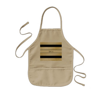 Stylish Black & Faux Gold Stripes Kids Apron