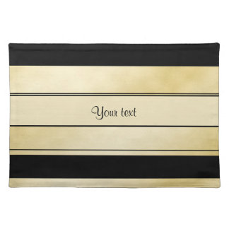 Stylish Black & Faux Gold Stripes Placemats