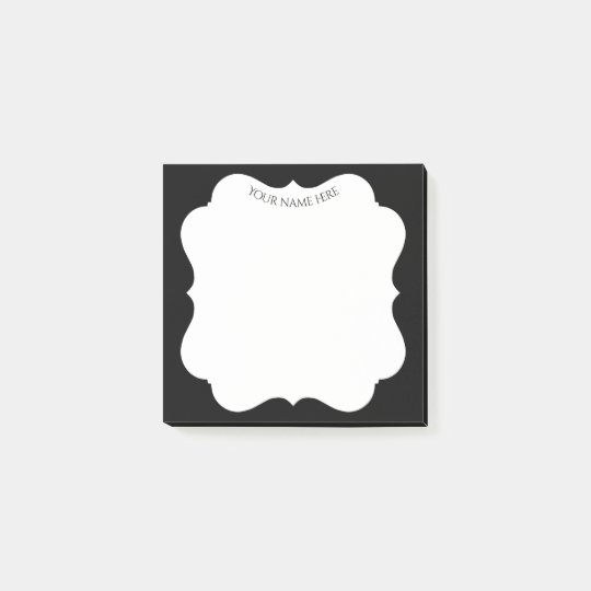 Stylish black frame with your name post-it notes