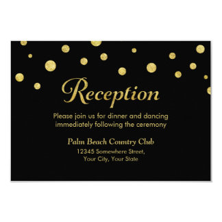 Stylish Black & Gold Dots Wedding Reception Card