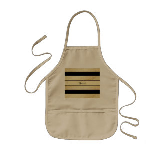Stylish Black & Gold Foil Stripes Kids Apron