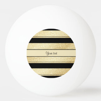 Stylish Black & Gold Foil Stripes Ping Pong Ball