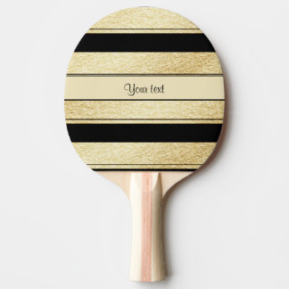 Stylish Black & Gold Foil Stripes Ping Pong Paddle