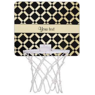 Stylish Black & Gold Squares Mini Basketball Hoop