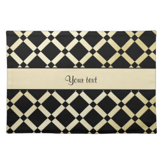 Stylish Black & Gold Squares Placemat
