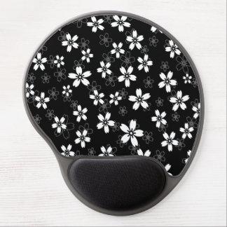 Stylish black gray and white sakura pattern gel mouse pad