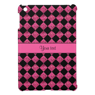 Stylish Black & Hot Pink Glitter Checkers Cover For The iPad Mini