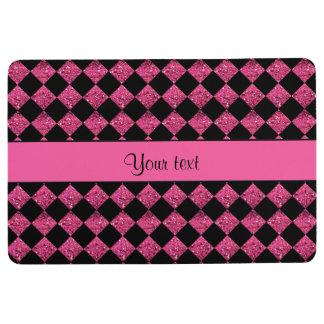 Stylish Black & Hot Pink Glitter Checkers Floor Mat