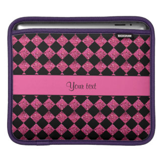 Stylish Black & Hot Pink Glitter Checkers iPad Sleeve